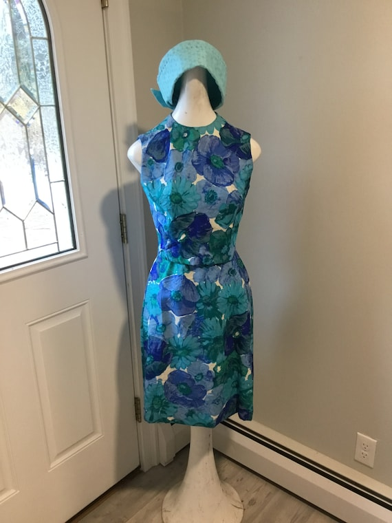 60's Dress Floral Wiggle Dress Marek New York Labe