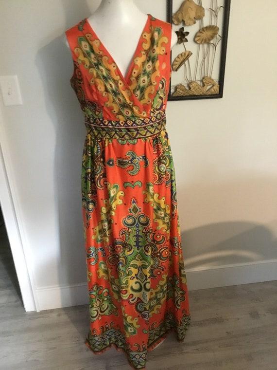 70's Groovy Dress Bold Print Maxi Hippie Boho Oran
