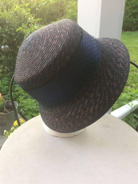 Blue Straw Hat Cloche Look Church Lady Hat Tahari… - image 3