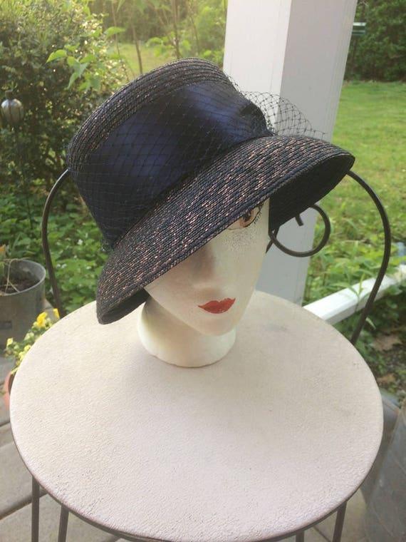 Blue Straw Hat Cloche Look Church Lady Hat Tahari… - image 1
