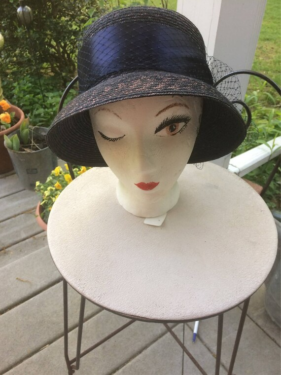 Blue Straw Hat Cloche Look Church Lady Hat Tahari… - image 4