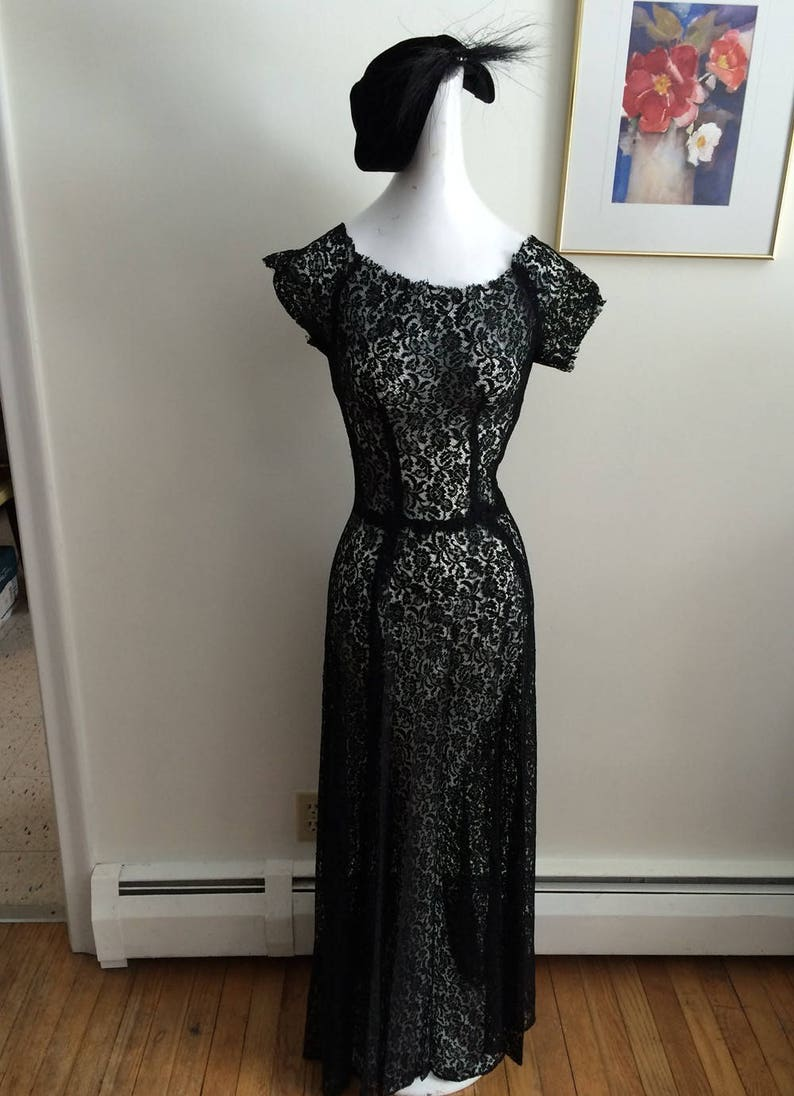 4bec7d3babc23 40's Black Lace Dress Torchlight Singer Hollywood Glam | Etsy
