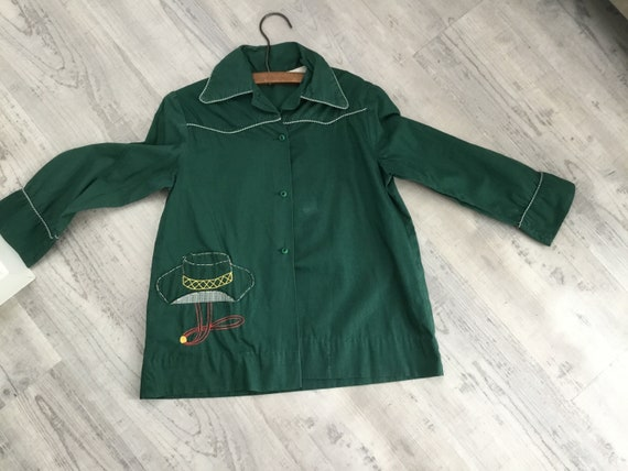 Kids Vintage Green Cotton Cowboy Shirt with Gingha