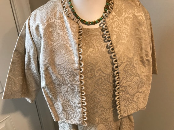 60's Cocktail Dress NWT Set Beige Brocade Outfit … - image 2