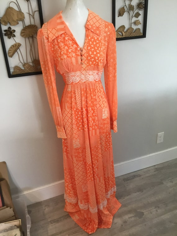 70's Maxi Dress Orange Patchwork and Floral Long D