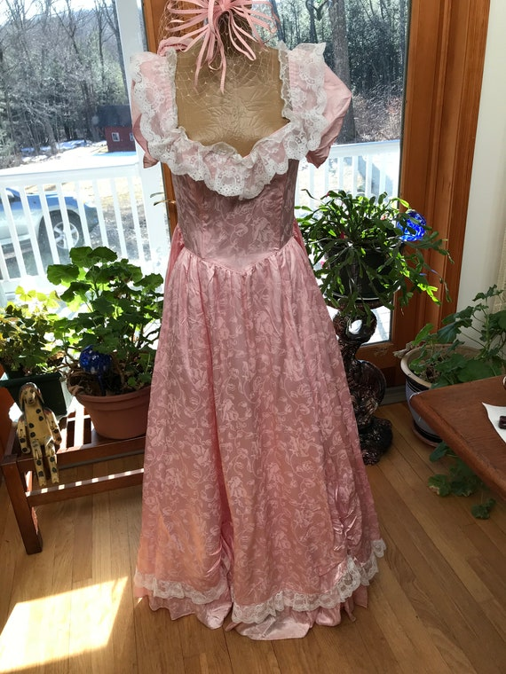 Scarlet O'Hara Style Gown Shimmery Pink Gown Ruffl