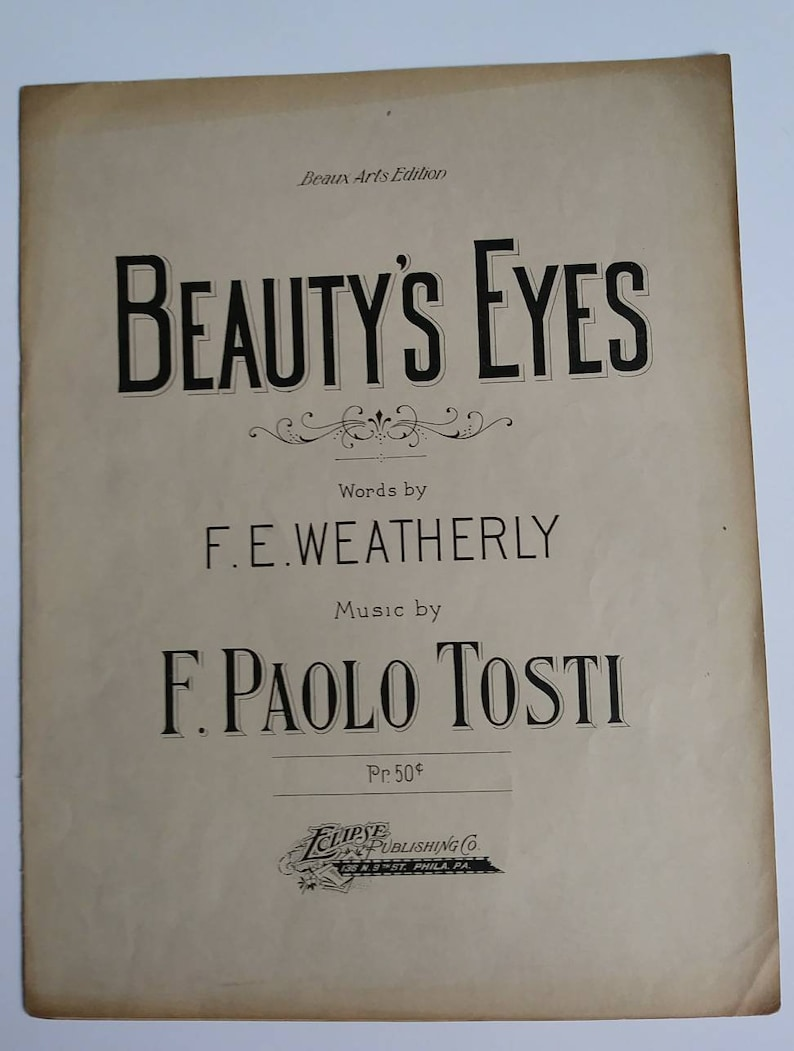 Vintage Sheet Music Beauty' s Eyes Somewhere There's image 0