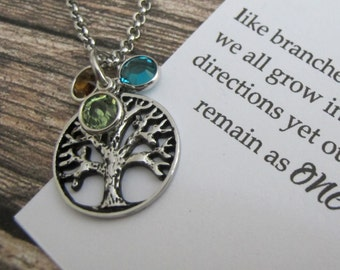 Mums Family NecklaceFamily TreePersonalized Birthstone Necklace Tree Of Life Birthday Gift Mom Expecting New