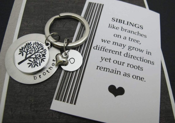 Siblings quotes | Brother Gift | Gifts For Brother | Sister Gifts | Gifts  for Sisters | Tree Of Life personalized letter initial Key Chain