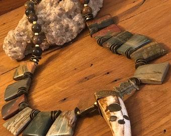 "Unique Picture Jasper 20"" gemstone Necklace w bone & brass ""claw"" pendant."