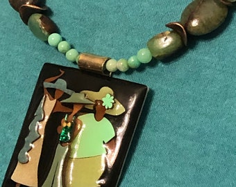 Vintage Lucinda pin/pendant on natural gemstone beaded Necklace w Chrysoprase & Cuprite beads, copper + earrings!