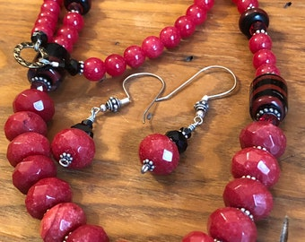 """Red ruby faceted natural gemstone beaded 26""""necklace with hand made glass beads, quartz round beads and Swarovski crystals."""