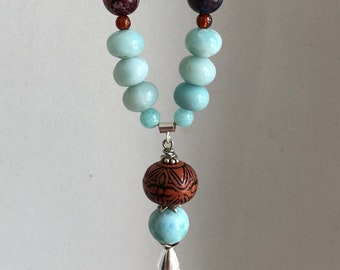"""Larimar, Amazonite, Aqua Terra Jasper, Hessonite Garnet Gemstone Bead 20""""Necklace"""