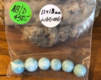 Larimar A+ natural blue round beads (6) 11-13mm