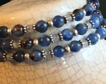 Memory wire Bracelet AA+ Kyanite Moonstone Sterling w charms for large wrist