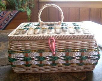 Vintage Sewing Basket, Woven Basket, Treasures  Box, Jewlery Box, Stash Box,  Sewing Collectible, Made in Japan