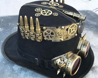 3eef4160b41 STEAMPUNK HAT and GOGGLES - Black Felt Steampunk Top Hat with Gold Metal  Band