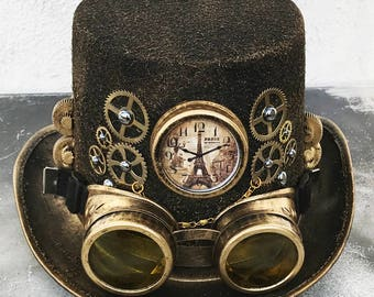 8c58ab4e STEAMPUNK HAT GOGGLES Set - 2 pc Gold Brass Vintage-Look Steampunk Top Hat  with Clock, Gears, Chains, Tubes, and Matching Removable Goggles