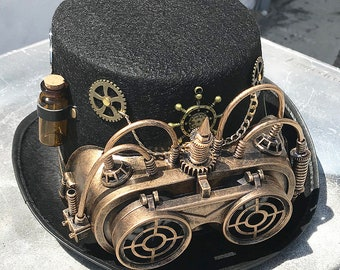 STEAMPUNK HAT and GOGGLES Set - 2 pc Black Felt Steampunk Top Hat with  Gears a074a528a7d4