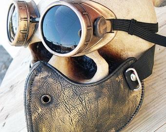 Steampunk Mask 2 pc set Gold-Brass Distressed Look Steampunk Riding Dust Mask with Steampunk Goggles-Burning Man Mask