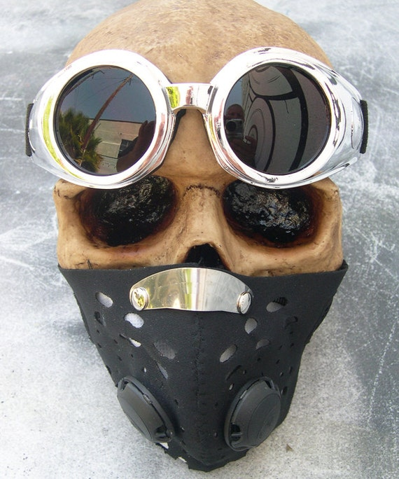 2 pc set Neoprene Steampunk Filter Lined Dust Riding Face MASK with Matching Chrome Look 'No Vent' GOGGLES A Burning Man Must Have