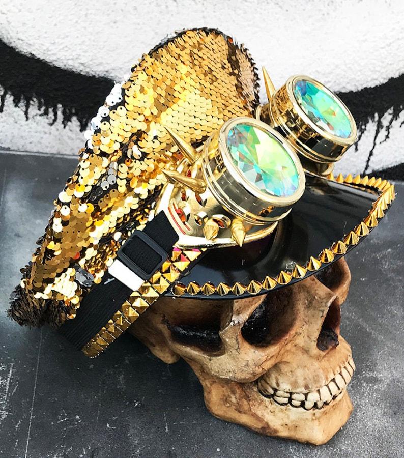 8d6cd132d6803 FESTIVAL PARTY HAT Gold Black Unisex Burning Man Cap