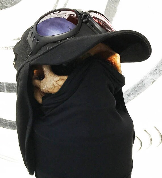 2 pc Extreme Conditions BLACK Playa Desert Sun Boonie Neck /'Flap Cap/' Hat with Goggles Steampunk Hat Set BURNING MAN Cap with Goggles