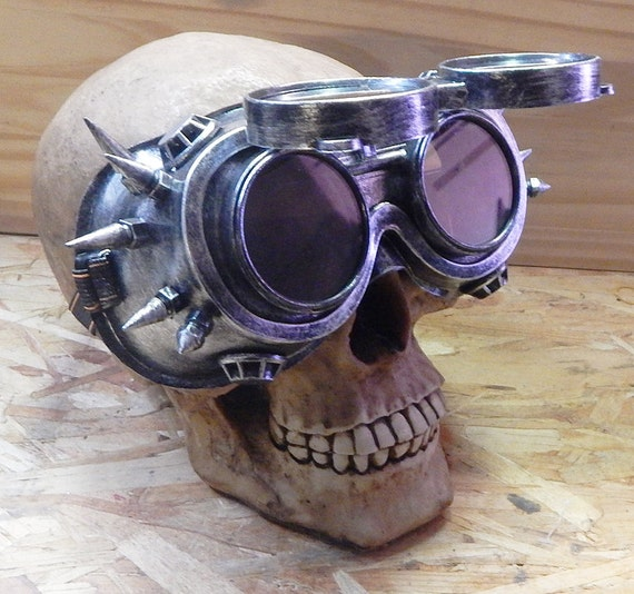 STEAMPUNK SPIKE GOGGLES Distressed Silver Steampunk Flip Up Industrial Steampunk Welders Style Riding Clubbing Goggles wSpikes Burning Man