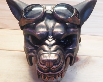 STEAMPUNK WOLF MASK - 2 pc. Distressed Copper 'Big Bad Wolf' Steampunk Mask with Matching Steampunk Goggles Elstic Straps- Burning Man