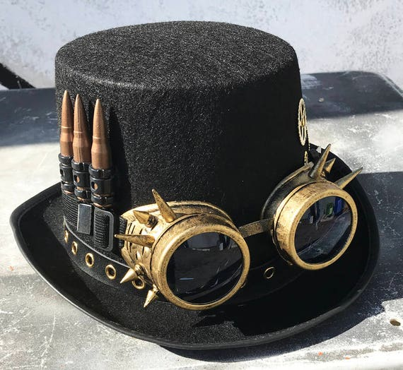 Key and Flip Up Removable Goggles STEAMPUNK HAT and GOGGLES Set Vial Scissors Chain 2 pc Black Felt Steampunk Top Hat with Gears