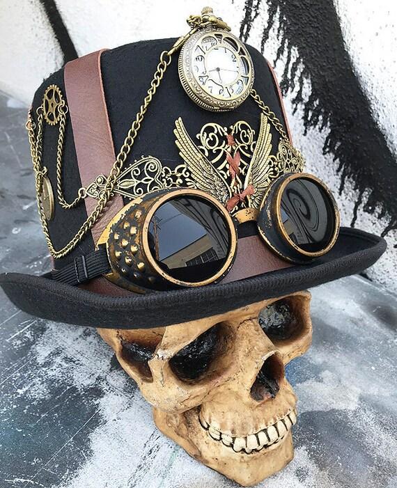 Retro Cyber Steampunk Pirate Masque Costume Robe Chapeau Lunettes Costume Masque Visage