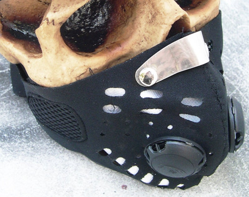 Black Neoprene Steampunk Filter Lined Anti Dust Riding Face MASK A Burning Man Survival Must Have