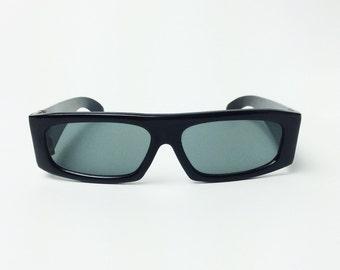 a4116372dcf Vtg Mob GANGSTER Flat Top Square SLIM Sunglasses Thick Black Rims Wide Fashion  Eyewear