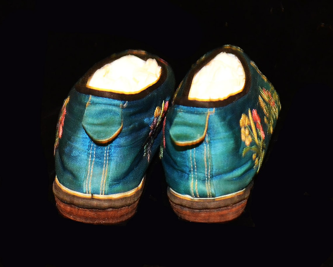 Vintage Pair Of Blue Silk Embroidered Flat Chinese Shoes