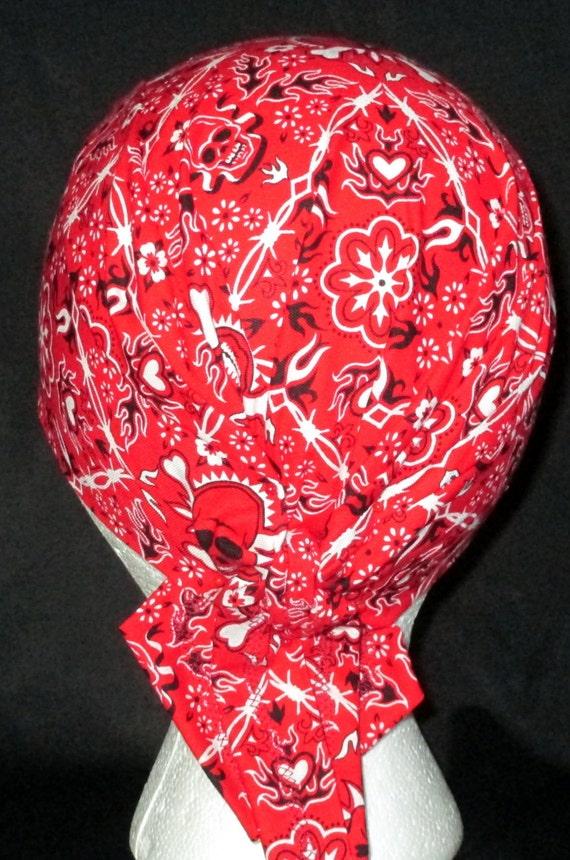Paliacate rojo con calaveras tapa de Chemo gorro casco del   Etsy