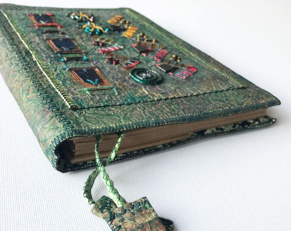 Memories A5 Journal Notebook - Antique-looking Recycled Notebook - Upcycled Paper, Beaded, Embroidered Notebook Old-looking Green Journal