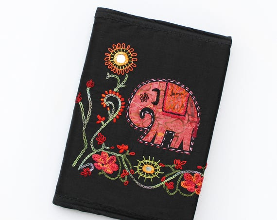 Elephant Journal A5 Sketchbook - Loki the Lonely Elephant Notebook - Indian Elephant Design Embroidered Diary Notebook Cover with A5 Journal