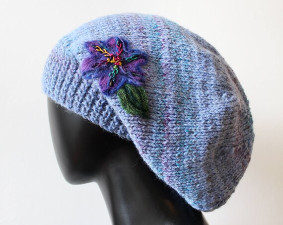 Dusky Blue Slouch Hat - Light Blue Slouchy Hat - Dusty Blue Beautiful Knitted Winter Hat - Blue Baggy Tam Hat with purple flower cornflower