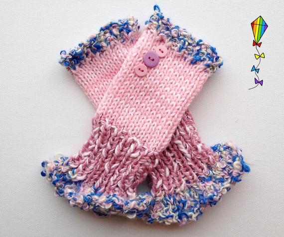 Fingerless Mittens • Daisy Pink Frilly Fingers - Pink Fingerless Mitten Frilled Edging • Pink Gloves with Frills - Fingerless Hand-warmer
