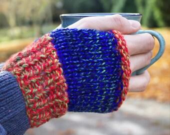 Mittens Blaze Buskers' Mittens - Mens Fingerless Glove - Orange & Blue Winter Handwarmers for Men - Unisex Fingerless Mittens Gift for Him