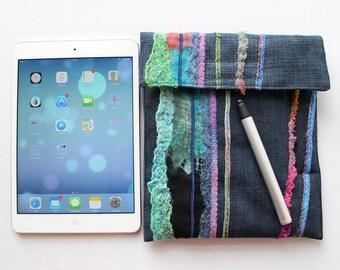 Rainforest iPad mini Case with Stylus Pocket - Denim Padded iPad mini Cover Device case kindle cover fabric iPad sleeve tech protector