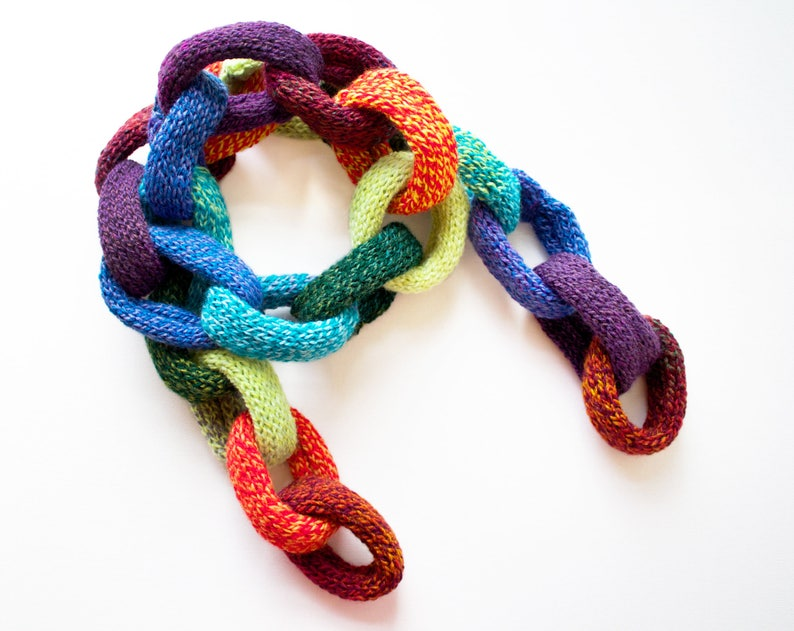 Rainbow Chain Scarf  Rainbow Scarf for Adults  Chain Link image 0
