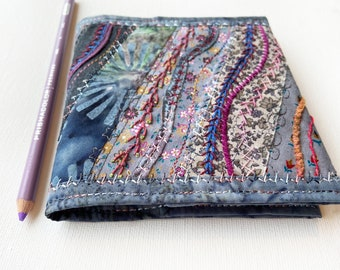Pewter Grey Pocket Sketchbook - Small Notebook with beautiful embroidered reusable cover. Travel journal mini notebook travelling sketchbook