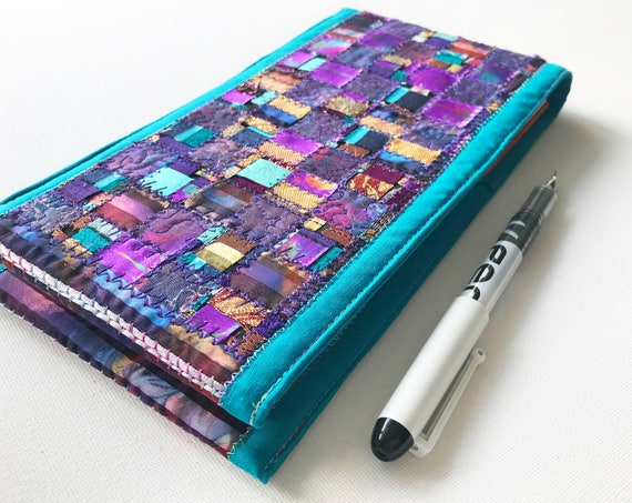 Turquoise Windows Journal - Blue, Purple & Gold Embroidered Notebook - Sparkly Sketchbook - Patchwork Embroidered Gold Purple Blue Journal