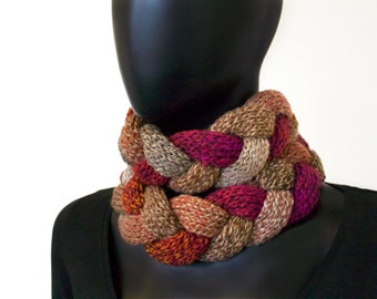 Mulled Spice Braided Cowl - Chunky Infinity Scarf in Earthy Red and Rich Brown Tones - Warm Winter Cowl Mother's Day