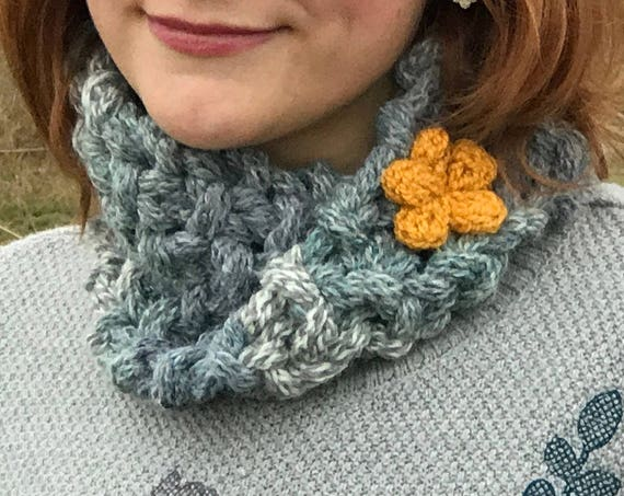 Stormcloud Mobius Chunky Nuzzler - Grey Mobius Cowl with Cute Yellow Flower - Smart Circle Scarves for any Occasion