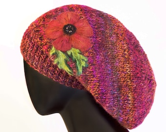Poppy Red Slouch Hat - Red Poppies Slouchy Hat - Red Hat long hat for long hair - Warm knit Winter Hat - Gift for Mum daughter sister friend