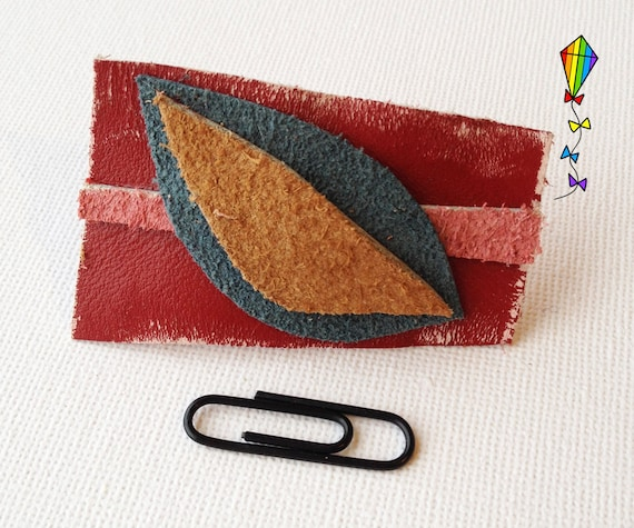 Small Hair Clip made from Reclaimed Leather - Autumn Design