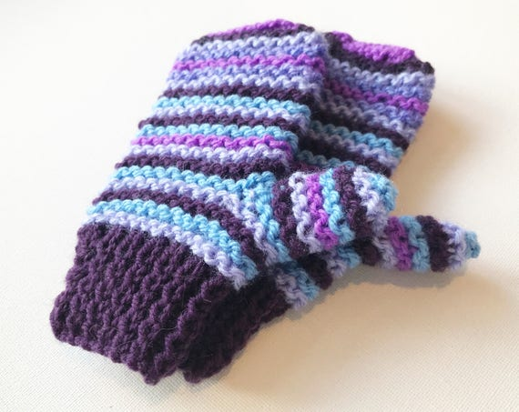 Blueberry Stripe Pixie Mittens - Child's Purple Mittens Blueberry Stripe Design - Blue and Purple Striped Childs' Glove - Stripy Mittens