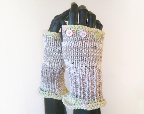 Vanilla Frilly Fingers - Cream Fingerless Glove Handwarmers - Adult Ladies' Fingerless Wrist Warming Gloves